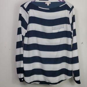 GAP  nautical striped boat neck blouse sz M